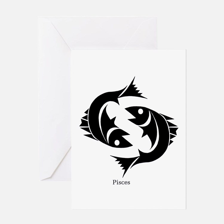 Pisces Zodiac Astrology Tattoo Greeting Card