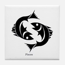Pisces Zodiac Astrology Tattoo Tile Coaster