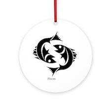 Pisces Zodiac Astrology Tattoo Ornament (Round)