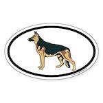 German Shepherd Euro Oval Sticker in Color