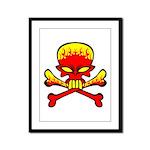 Flaming Skull & Crossbones Framed Panel Print