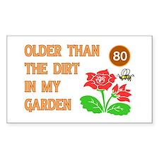 Gardener's 80th Birthday Rectangle Decal