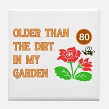 Gardener's 80th Birthday Tile Coaster