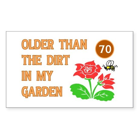 Gardener's 70th Birthday Rectangle Sticker