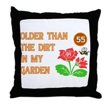 Gardener's 55th Birthday Throw Pillow