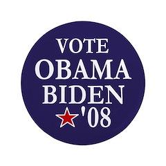 """Vote Obama Biden Big 3.5"""" Button"""