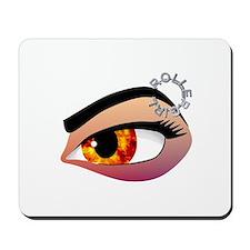 Fire in her eye Mousepad