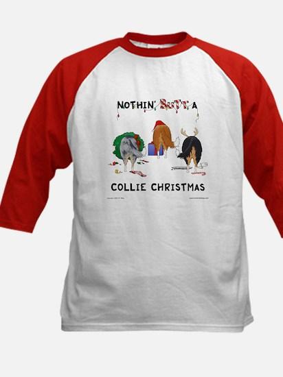 Nothin' Butt A Collie Xmas Kids Baseball Jersey