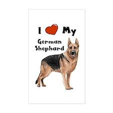 I Love My German Shepherd Rectangle Decal