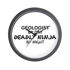 Geologist Deadly Ninja by Night Wall Clock
