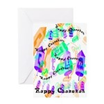 Dreidels Happy Chanukah Greeting Card