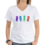 Four Dreidels Women's V-Neck T-Shirt
