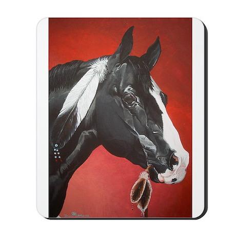 black native american horse Mousepad
