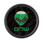 Shalom Alien Large Wall Clock