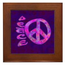 Pink Peace Framed Tile