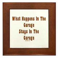 What Happens In Garage Dad Framed Tile