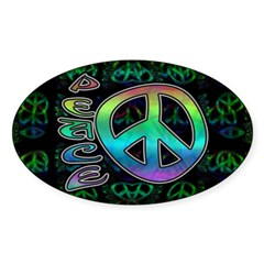 Rainbow Peace Sticker (Oval 10 pk)