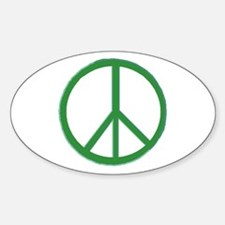 Green Peace Symbol Oval Decal