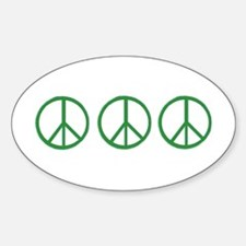 3 Green Peace Sign Oval Decal
