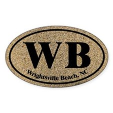 Wrightsville Beach WB Euro Oval Sticker Decal