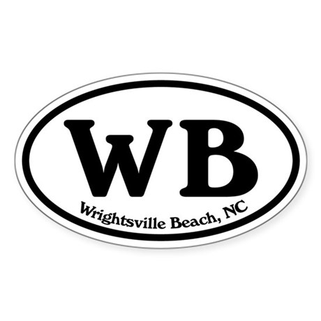 Wrightsville Beach WB Euro Oval Oval Sticker