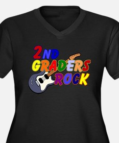 2nd Graders Rock Women's Plus Size V-Neck Dark T-S