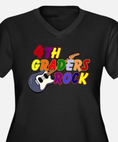 4th Graders Rock Women's Plus Size V-Neck Dark T-S