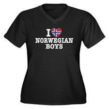 I Love Norwegian Boys Women's Plus Size V-Neck Dar