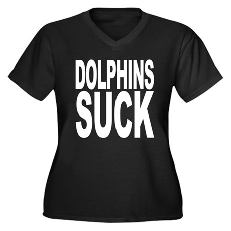Dolphins Suck Women's Plus Size V-Neck Dark T-Shir