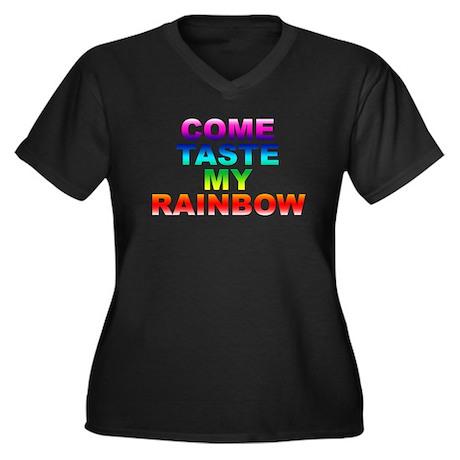 Come Taste My Rainbow Women's Plus Size V-Neck Dar