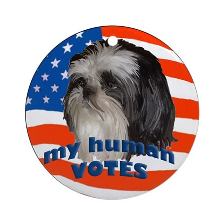 Shih Tzu with American Flag Ornament (Round)