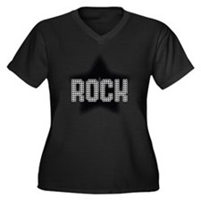 RockStar Women's Plus Size V-Neck Dark T-Shirt