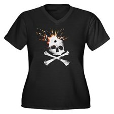 Bullet to the skull Women's Plus Size V-Neck Dark