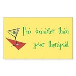 Smarter Than Your Therapist Rectangle Sticker 50