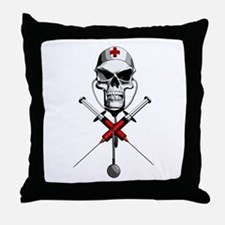 Evil Nurse Skull Throw Pillow