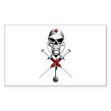 Evil Nurse Skull Rectangle Decal