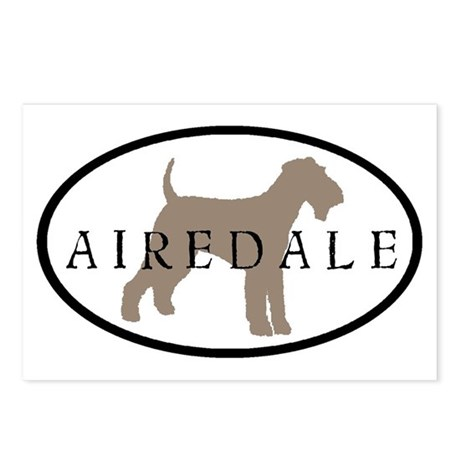 Airedale Terrier Oval #2 Postcards (Package of 8)