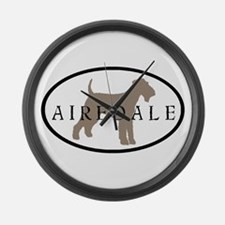 Airedale Terrier Oval #2 Large Wall Clock
