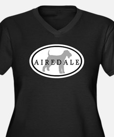 Airedale Terrier Oval #3 Women's Plus Size V-Neck
