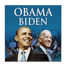 Obama-Biden Blue Large Logo Tile Coaster