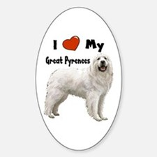 I Love My Great Pyrenees Oval Decal