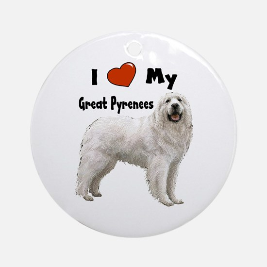 I Love My Great Pyrenees Ornament (Round)
