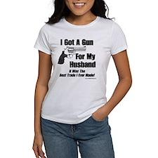 """""""Handgun For My Husband"""" Women's White T"""