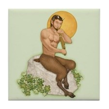 Satyr Playing Pan Pipes Tile Coaster