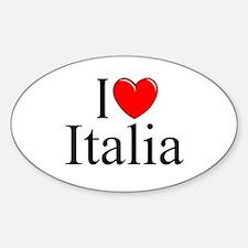 """I Love (Heart) Italia"" Oval Decal"