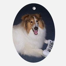Cute White Collie Ornament (Oval)
