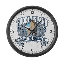 Save the Penguin Rhode Island Large Wall Clock
