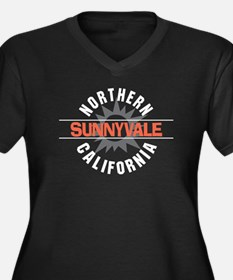 Sunnyvale California Women's Plus Size V-Neck Dark