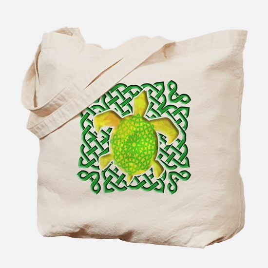 Celtic Knot Turtle (Green) Tote Bag