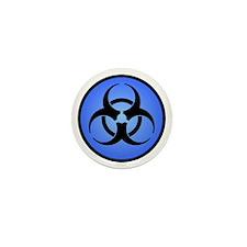 Blue Biohazard Symbol Mini Button